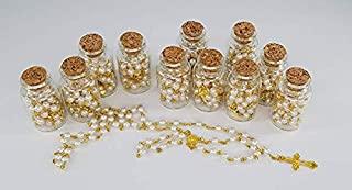 YRP 12 Rosary in Glass Jar Bottle Beads Gold Catholic Crucifix Necklace Jesus Christ