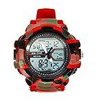 Reloj Deportivo Analógico/Digital para Hombre, para Uso al Aire Libre o al Hacer Ejercicio LED y Alarma / (Camuflaje Rojo)