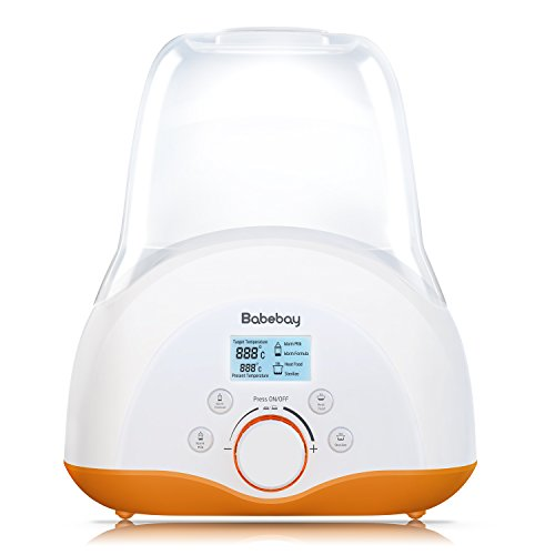 Baby Bottle Warmer, Bottle Sterilizer & Smart Thermostat 4-in-1 with Evenly Warming Breast Milk or Formula, Real-time Temperature LCD Monitor, fit Most of Baby Bottles[2018 Most Genius Gifts] …