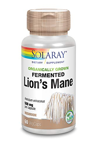 Solaray Lions Mane 500mg | Melena de Leon | Organically Grown Fermented Mushroom...