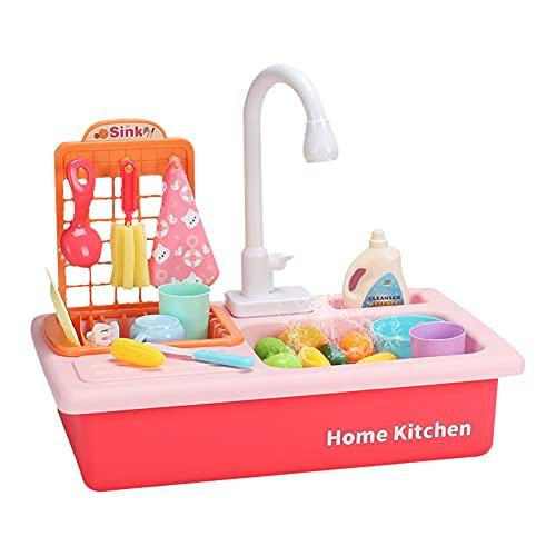 Cocina de juguete para niños, accesorios de cocina con vajilla infantil, juguete de cocina para niños, juguete de cocina para niños, cocina de juguete con grifo, accesorios de cocina, juego educativo