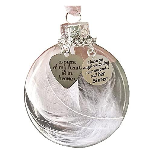 YQYH Adorno de Navidad con forma de corazón de plumas – A Piece of My Heart is in Heave Memorial Ornamento Pulseras Collares Joyería Regalos de Navidad para Mujeres Hombres Niños (B)