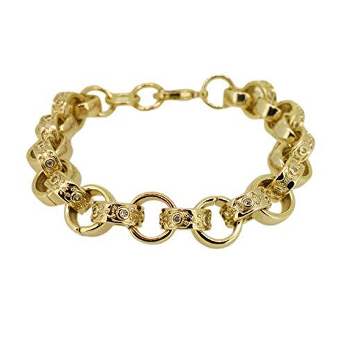 The Bling King 12mm Gold Crystal Pattern Belcher Bracelet Big Links Heavy Real Gold Plating