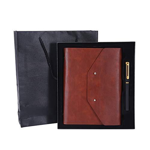 A5 Cuaderno de negocios Imitación de cuero PU Personalización Creativo Diario simple Papelería de oficina Bloc de notas Caja de regalo marrón
