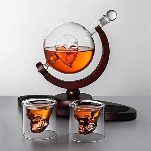 Decantador de vino de vino de cráneo y gafas Set Conjunto de ANTER DE WHISKY DE 850ML CRÁVANDO, Vodka Antiento Globo con base de madera 2 gafas de tiro de cráneo, para licor escocés Bourbon Vodka, Fam