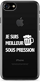 """ZOKKO Case for iPhone 7 with""""Je suis Meilleur sous Pression"""" (""""I'm Better Under Pressure"""") Motif - Size iPhone 7 - Transpa..."""