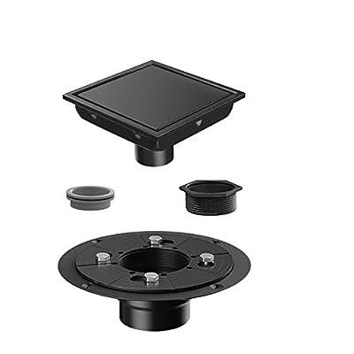 USHOWER Square Shower Drain 4 Inch, Tile-insert Matte Black Stainless Steel Square Drain with Drain flange kit