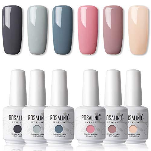 ROSALIND UV Lack Set Hybrid Nagellack Shellac 6 Farben lakiery hybrydowe do paznokci Graue rosa Reihe Soak Off Gel Poilsh 15ml