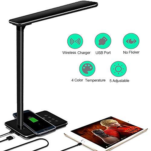 Lámpara Escritorio LED Táctil - Qi Rápida Cargador Inalámbrico para todos los Teléfonos Qi y Puerto USB, Lámparas de Mesa Regulable Plegable, 5 Niveles De Brillo, 4 Colors (Negro)