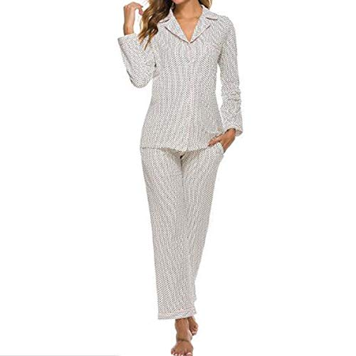 Yiyu Haushaltskleidung Damen Baumwolle Pyjama Anzug Europäische Und Amerikanische Frauen Herbst Langarm Hose Pyjama x (Color : White, Size : XXL)