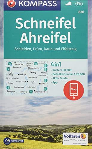 KOMPASS Wanderkarte Schneifel, Ahreifel, Schleiden, Prüm, Daun, Eifelsteig: 4in1 Wanderkarte 1:50000 mit Aktiv Guide und Detailkarten inklusive Karte ... (KOMPASS-Wanderkarten, Band 836)