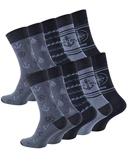 Cotton Prime 10 Paar Herren Baumwoll Socken Maritim mit Komfortbund, Gr. 43-46