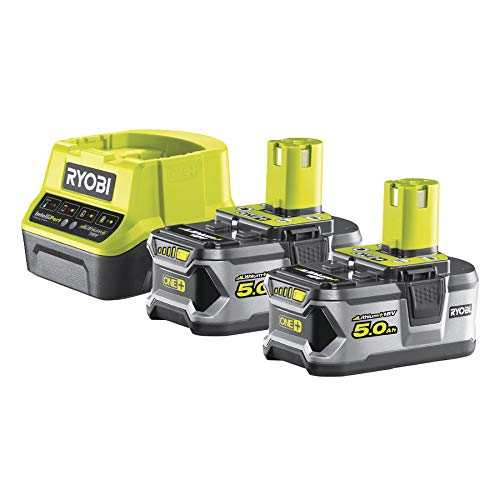 Ryobi 5133003364–Confezione con caricabatterie da 1 ora + 2batterie Li-ion 18V 5.0Ah