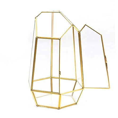 MINGZE Glas Blumentöpfe, Geometrischer Glasblumentopf mit tür, handgefertig als Blumentopf für Miniatur-Bonsai, Blumentopf für Sukkulenten, Keine Pflanzen (13 * 13 * 22cm, Gold Kupfer)