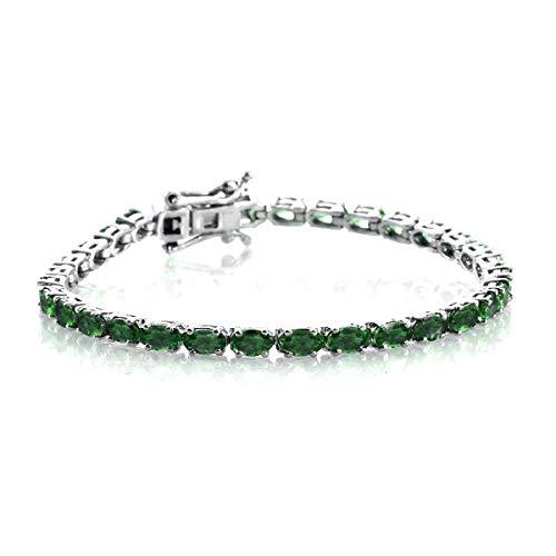 3.00 Ctw Multi Choice Your Gemstone Pulsera brillante de tenis plateado platino de plata esterlina 925 para mujer (CZ verde)