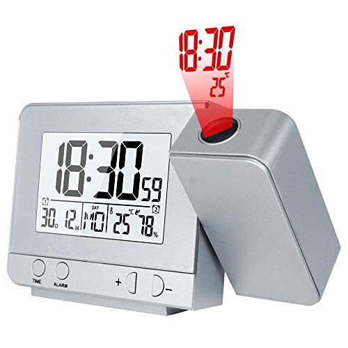 Wekker Alarm Clock Digital Date sluimerfunctie Backlight Projector Desk Tabel Led Klok Met Tijd Projectie (Color : Silver, Size : Free)
