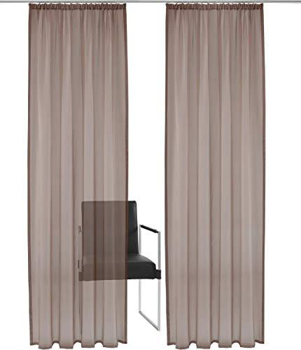 NECOHOME 2er Set Voile Gardinen mit Kräuselband Transparent Vorhang Schal mit Bleibandabschluß für Wohn-, Kinder-, Schlafzimmer (BxH 140x175cm x 2, Braun)