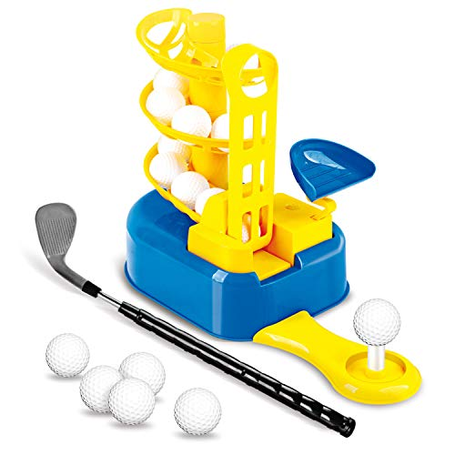 NIGOE Kids Golf Clubs Set, Toddler Golf Training Equipment, Outdoor Lawn Sports Toys with 15 Balls, Indoor Pitching Golf Balls for Boys Girls 3 4 5 6 7 8