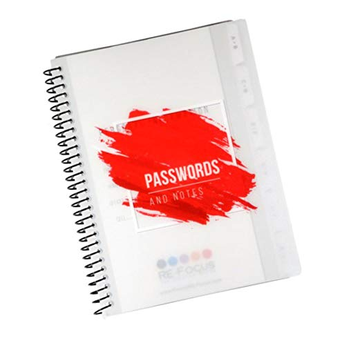 Mini Red Password Book Keeper, Alphabetical Tabs, Spiral Bound, Removable Sheets, Journal Organizer Includes Website, Address, Username, Password by Re-Focus The Creative Office