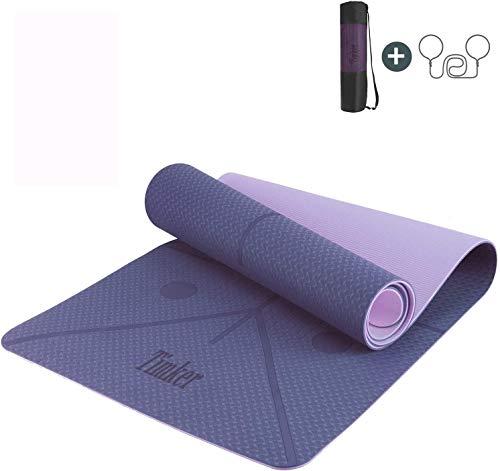 Timker Esterilla Yoga Colchoneta de Yoga Antideslizante Material ecológico TPE líneas corporales Yoga Mat diseñado con Correa de Hombro- 183cm x 61cm (Violeta)