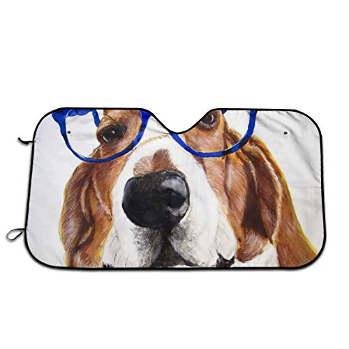 "Label Love Funny Basset Hound Stupid Dog Glasses Windshield Sun Shade Sunshades Keep Vehicle Cool Protect Your Car from Sun Heat & Glare Best Uv Ray Visor Protector Size: 27.5""X 51"""