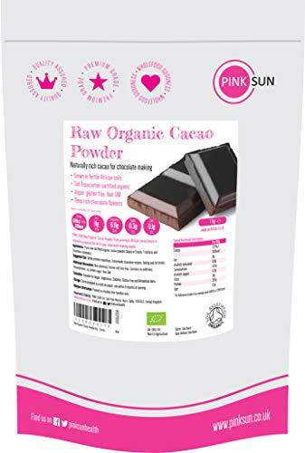 PINK SUN Cacao en Poudre Bio 1Kg Sans Sucré Ajouté Cru Naturel Sans Gluten Non OGM Végétarien Végétalie 1000G Bulk