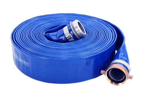"""Abbott Rubber 1147-2000-50 PVC Discharge Hose Assembly, Blue, 2"""" Male X Female NPSM, 65 psi Max Pressure, 50' Length, 2"""" ID"""