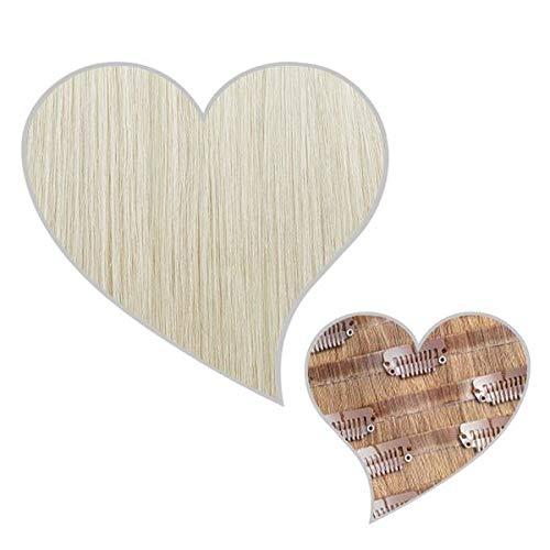 GLOBAL EXTEND® Clip in Extensions nahtlos kühles-blond#90 40cm 150g Volume Seamless Clips aus 100% Echthaar Haarverlängerung nahtlose Haarclips Haarverdichtung Real Human Hair