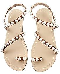 Crystal with Rhinestone Bohemia Flip Flops T-Strap Orange Sandal