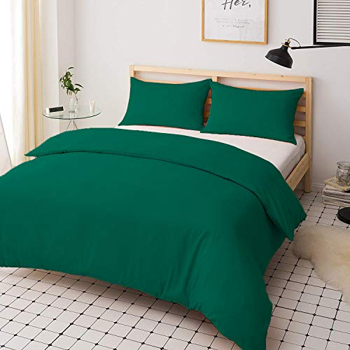 Duvet Quilt Cover Set - Poly Cotton Plain Dyed Bedding Set With Matching Pillowcases- Easy Care Machine Washable - Durable | Single Double King Super King Bed Size (Teal, Single)