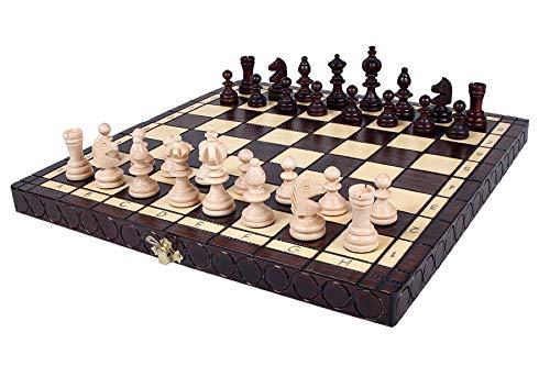 KADAX Schachspiel, hochwertiges Schachbrett mit Figuren, 36 x 36 cm, Schach aus Holz, Schachset für Erwachsene, Kinder, Anfänger, klappbare Schachkassette für Haus, Reise, klein