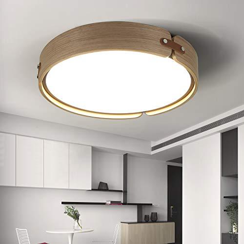 ZMH Led-plafondlamp, 4000 K, neutraal wit, 26 W, hout en metaal, rond/metalen frame, plafondlamp voor woonkamer/kantoor/slaapkamer, diameter 42 cm