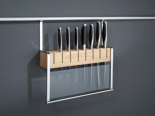 Sotech SO-TECH® Linero 2000 Messerhalter mit Holzblock für Küchenreling