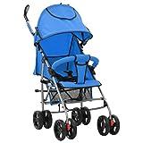foto vidaXL Cochecito Sillita Paseo de Bebé 2 en 1 Azul Acero Carritos Transporte