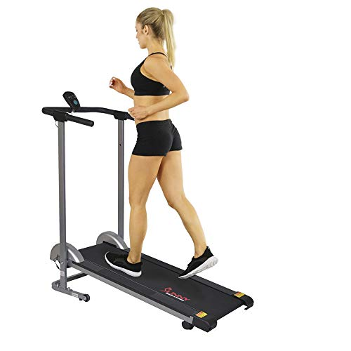 Sunny Health & Fitness SF-T1407M Manual Walking Treadmill with LCD Display, Compact Folding, Portability Wheels and 220 LB Max Weight by Sunny Health & Fitness