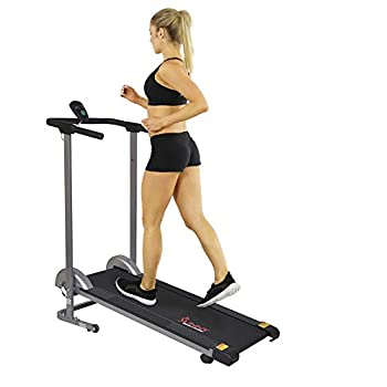 Sunny Health & Fitness SF-T1407M Manual Walking Treadmill with LCD Display Compact Folding Portability Wheels and 220 LB Max Weight