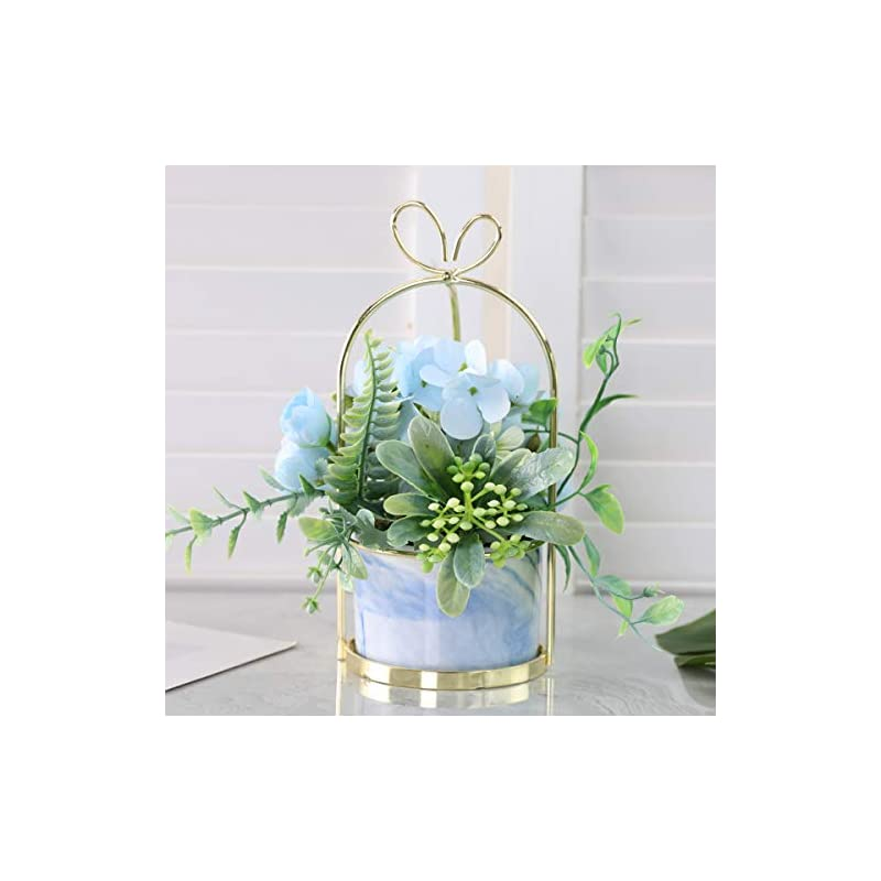 silk flower arrangements veryhome artificial flowers hydrangea with ceramic vase silk chrysanthemum mini potted fake flowers hanging potted plants for wedding home office decoration pack of one (blue-marble pot)
