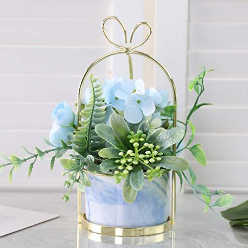 Veryhome Künstliche Blumen Hortensie Chrysantheme Topf Gefälschte Blumen Hängen Topfpflanzen Für Zuhause Wohnzimmer Büro Party Dekoration ( Hortensie Topf-Blau )