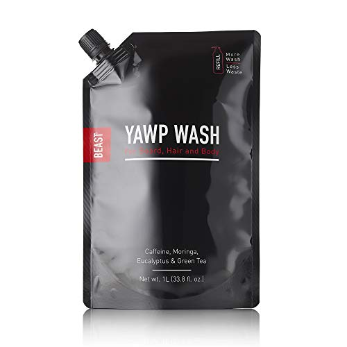 Beast Yawp All-in-1 Wash, Body Hair & Beard Shampoo & Bodywash Refill, Large 1 Liter 33.8 fl oz