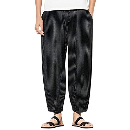 ZODOF Pantalones de Lino de los Hombres Pantalones de Bolsillo de Gran Tamaño 3/4 Pantalones Cortos Pantalones de Harén Retro Raya Pantalones de Pierna Ancha Vacaciones