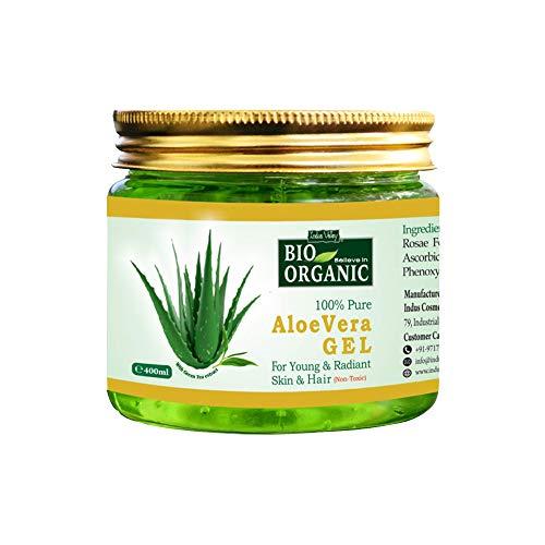 Indus Valley Bio Organic Non-Toxic Aloe Vera Gel for Acne, Scars, Glowing & Radiant Skin Treatment (Jumbo Pack 400Ml)