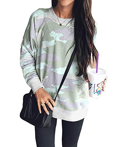 Women's Casual Camouflage Sweatshirts Long Sleeve Loose Camo Pullover Tops Sweater Shirts(Light green-4049 XL)