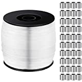 Strong Clear Invisible Fishing Wire 1 mm Up to 100 Lbs, 656 Feet Strong Nylon Thread with 100 Pieces Aluminum Crimping Loop Sleeves Hanging Wire Kit for Picture Fram Flowerpot Chandelier Craft