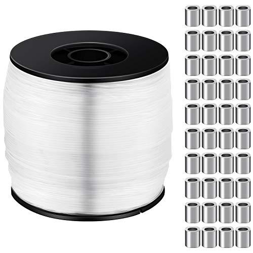 Hilo de Colgante Invisible Transparente Fuerte 0,8mm hasta 100 Libras, Hilo de Nailon Resistente de 656 Feet con 100 Piezas Kit de Colgar Mangas de Bucles de Prensado de Aluminio