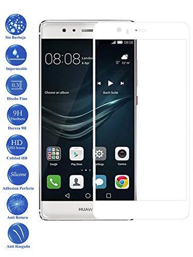 Todotumovil Protector de Pantalla Huawei P9 Plus Blanco Completo 3D Cristal Templado Vidrio Curvo para movil