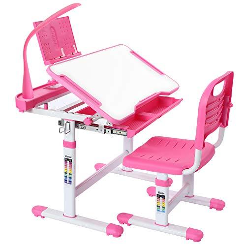 Forfar Kids Study Desk and Chair Set mit höhenverstellbarer Lampe mit EU-Stecker Schreibtisch und Stuhlset für Schülerinnen und Schüler Schreibtisch und Stuhlset für Kinder mit ausziehbarer Schublade
