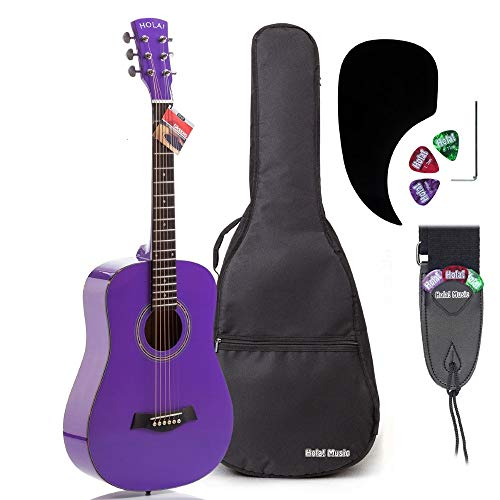 3/4 Size (36 Inch) Acoustic Guitar Bundle Junior/Travel Series by Hola! Music with EXP16 Steel Strings, Padded Gig Bag, Guitar Strap and Picks, Model HG-36PP, Glossy Purple