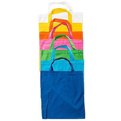 noTrash2003 7 Stück Baumwoll Einkaufstasche Beutel Stoffbeutel Tasche Shopper mit kurzen Henkeln in versch. Farben