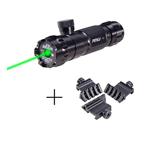 Pinty Hunting Rifle Green Laser Sight Dot Scope & 3PCs 45-Degree Offset Angle Rail Mount Picatinny for Flashlights Lasers