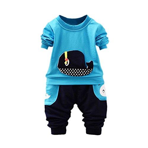 FRYS Ensemble Bebe Garcon Hiver Mode Vetement bébé garçon Naissance Printemps Pas Cher Manteau garçon Sport Manche Longue Chemise Blouse Haut Sweat t Shirt + Pantalons (6-12 Mois, Bleu)